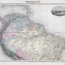 Arte: MAPA DE SUDAMÉRICA SEPTENTRIONAL, DE 1894. LITOGRAFÍA COLOREADA DE LACOSTE Y L. SMITH. ATLAS MIGEON. Lote 179006155