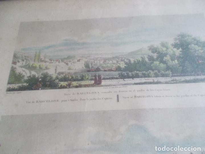 Arte: TRES ANTIGUAS VISTAS DE BARCELONA TOCADAS A MANO MUY ANTIGUAS FIRMADAS CON AUTORES DE EPOCA - Foto 2 - 179069526
