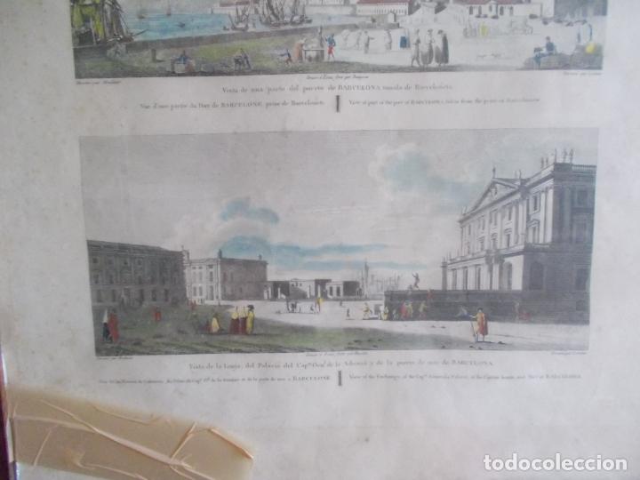 Arte: TRES ANTIGUAS VISTAS DE BARCELONA TOCADAS A MANO MUY ANTIGUAS FIRMADAS CON AUTORES DE EPOCA - Foto 3 - 179069526