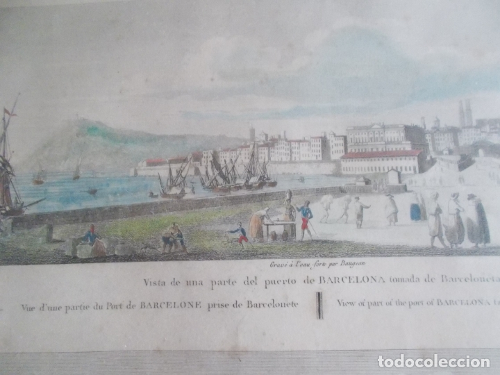 Arte: TRES ANTIGUAS VISTAS DE BARCELONA TOCADAS A MANO MUY ANTIGUAS FIRMADAS CON AUTORES DE EPOCA - Foto 4 - 179069526