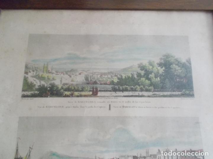 Arte: TRES ANTIGUAS VISTAS DE BARCELONA TOCADAS A MANO MUY ANTIGUAS FIRMADAS CON AUTORES DE EPOCA - Foto 6 - 179069526
