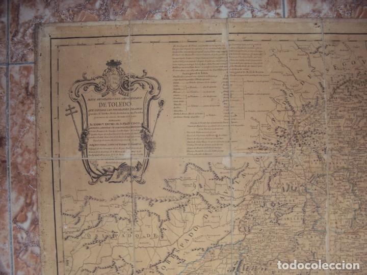 Arte: (PA-191008)Mapa en tela Arzobispado de Toledo Arqueologia escudo Cardenal Lorenzana Tomas Lopez 1792 - Foto 2 - 179189590
