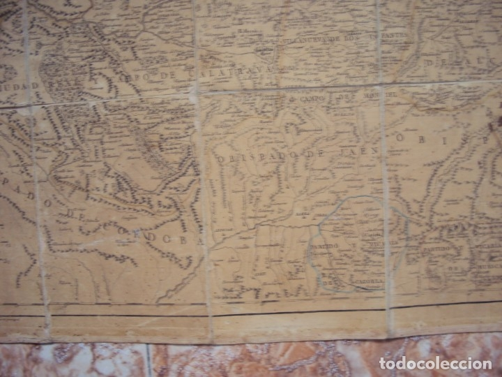 Arte: (PA-191008)Mapa en tela Arzobispado de Toledo Arqueologia escudo Cardenal Lorenzana Tomas Lopez 1792 - Foto 9 - 179189590