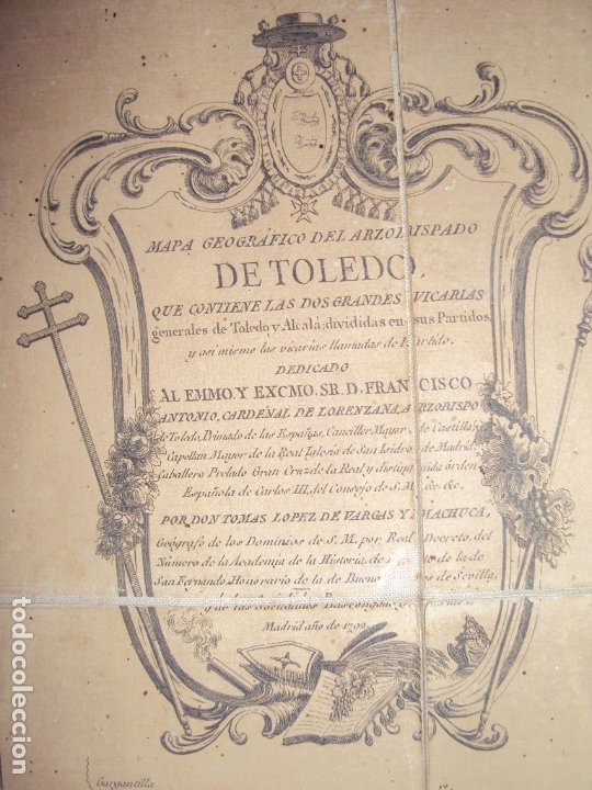 Arte: (PA-191008)Mapa en tela Arzobispado de Toledo Arqueologia escudo Cardenal Lorenzana Tomas Lopez 1792 - Foto 11 - 179189590
