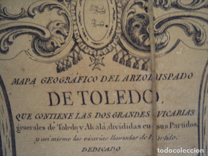 Arte: (PA-191008)Mapa en tela Arzobispado de Toledo Arqueologia escudo Cardenal Lorenzana Tomas Lopez 1792 - Foto 13 - 179189590