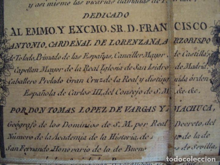 Arte: (PA-191008)Mapa en tela Arzobispado de Toledo Arqueologia escudo Cardenal Lorenzana Tomas Lopez 1792 - Foto 14 - 179189590