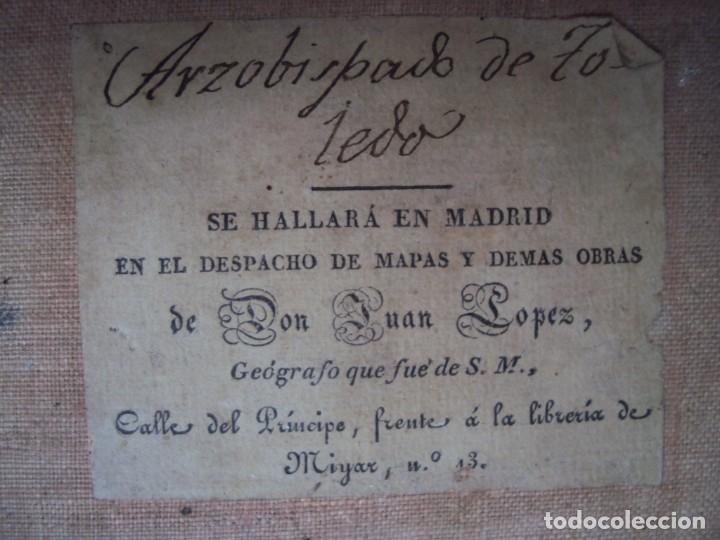 Arte: (PA-191008)Mapa en tela Arzobispado de Toledo Arqueologia escudo Cardenal Lorenzana Tomas Lopez 1792 - Foto 40 - 179189590