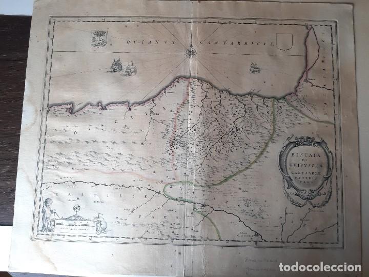 MAPA DE GUIPUZCOA Y VIZCAYA. 1640. JOAN BLAEU. 56X46 CENTÍMETROS (Arte - Cartografía Antigua (hasta S. XIX))