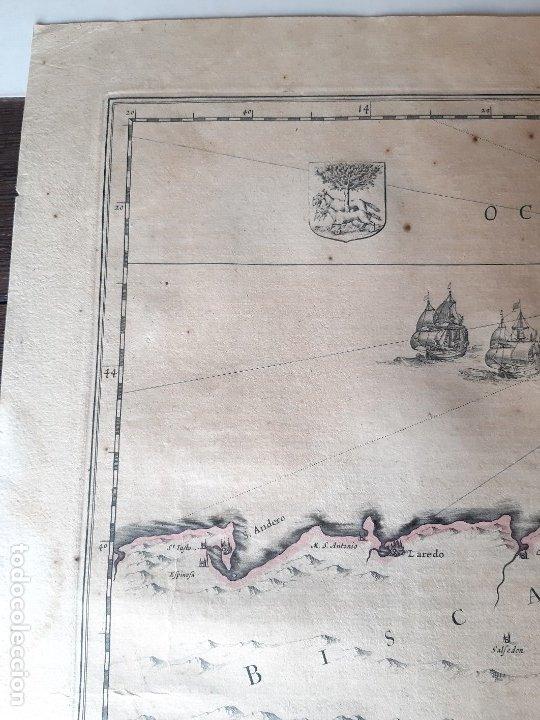 Arte: MAPA DE GUIPUZCOA Y VIZCAYA. 1640. JOAN BLAEU. 56x46 CENTÍMETROS - Foto 2 - 179220268