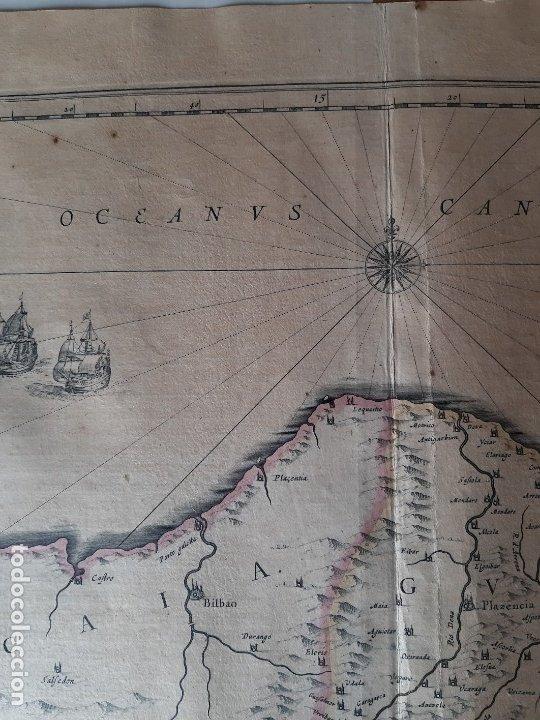 Arte: MAPA DE GUIPUZCOA Y VIZCAYA. 1640. JOAN BLAEU. 56x46 CENTÍMETROS - Foto 3 - 179220268