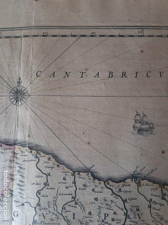 Arte: MAPA DE GUIPUZCOA Y VIZCAYA. 1640. JOAN BLAEU. 56x46 CENTÍMETROS - Foto 4 - 179220268