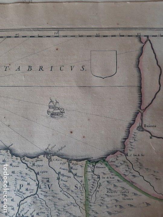 Arte: MAPA DE GUIPUZCOA Y VIZCAYA. 1640. JOAN BLAEU. 56x46 CENTÍMETROS - Foto 5 - 179220268
