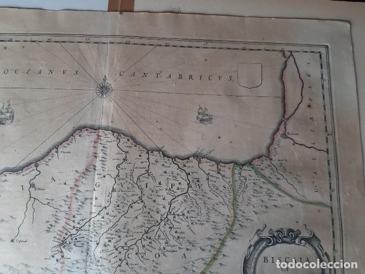 Arte: MAPA DE GUIPUZCOA Y VIZCAYA. 1640. JOAN BLAEU. 56x46 CENTÍMETROS - Foto 7 - 179220268