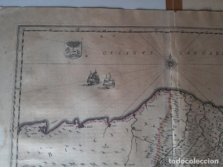 Arte: MAPA DE GUIPUZCOA Y VIZCAYA. 1640. JOAN BLAEU. 56x46 CENTÍMETROS - Foto 8 - 179220268