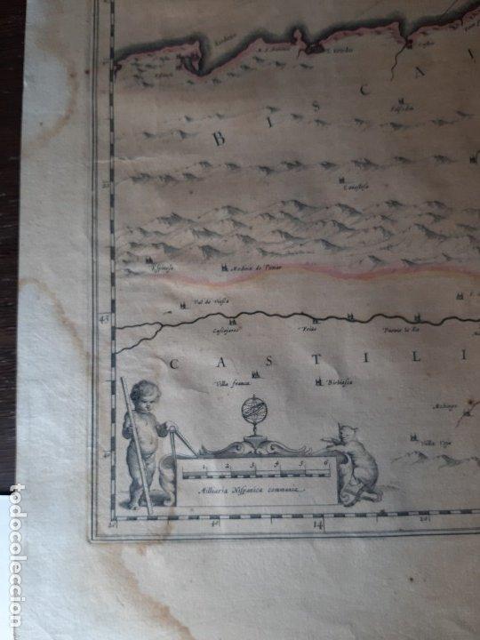 Arte: MAPA DE GUIPUZCOA Y VIZCAYA. 1640. JOAN BLAEU. 56x46 CENTÍMETROS - Foto 9 - 179220268