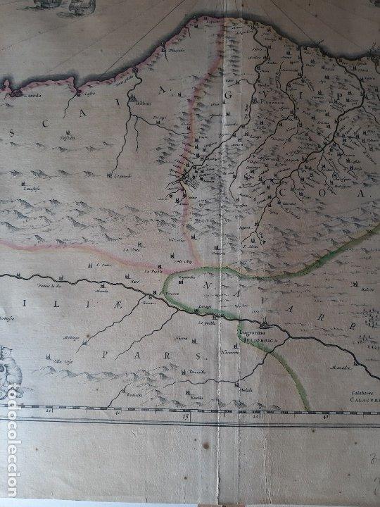 Arte: MAPA DE GUIPUZCOA Y VIZCAYA. 1640. JOAN BLAEU. 56x46 CENTÍMETROS - Foto 10 - 179220268