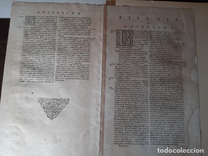 Arte: MAPA DE GUIPUZCOA Y VIZCAYA. 1640. JOAN BLAEU. 56x46 CENTÍMETROS - Foto 12 - 179220268