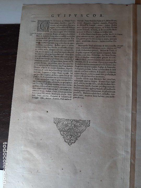 Arte: MAPA DE GUIPUZCOA Y VIZCAYA. 1640. JOAN BLAEU. 56x46 CENTÍMETROS - Foto 13 - 179220268