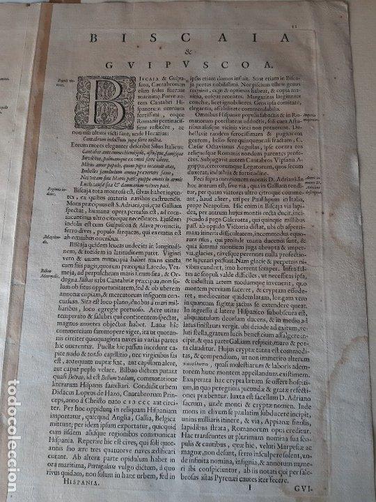 Arte: MAPA DE GUIPUZCOA Y VIZCAYA. 1640. JOAN BLAEU. 56x46 CENTÍMETROS - Foto 14 - 179220268