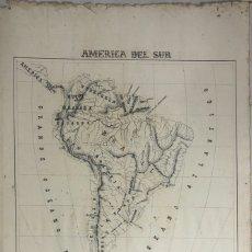 Arte: MAPA AMERICA DEL SUR. PINTADO POR FRANCISCO GUTIERREZ CARMONA. CADIZ, 1890. MEDIDAS: 55.5 X 37 CM. Lote 179385607