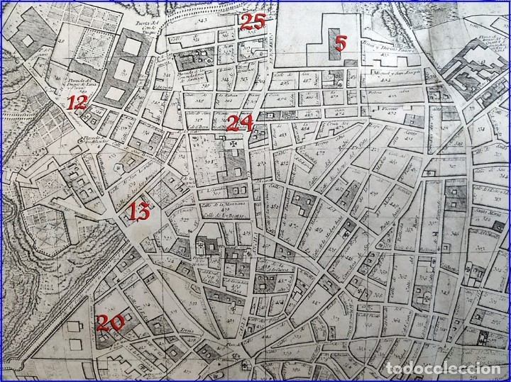 Arte: PLANO DE MADRID DEL AÑO 1808 DE MÁS DE MEDIO METRO. - Foto 5 - 182361798
