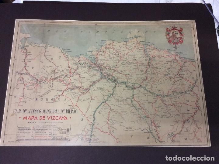 MAPA DE VIZCAYA .CAJA DE AHORROS,ANTONIO VILLAROYA DIBUJÓ-MEDIDAS 65X45 CM (Arte - Cartografía Antigua (hasta S. XIX))