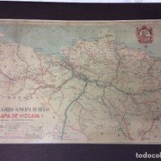 Arte: MAPA DE VIZCAYA .CAJA DE AHORROS,ANTONIO VILLAROYA DIBUJÓ-MEDIDAS 65X45 CM. Lote 182380987