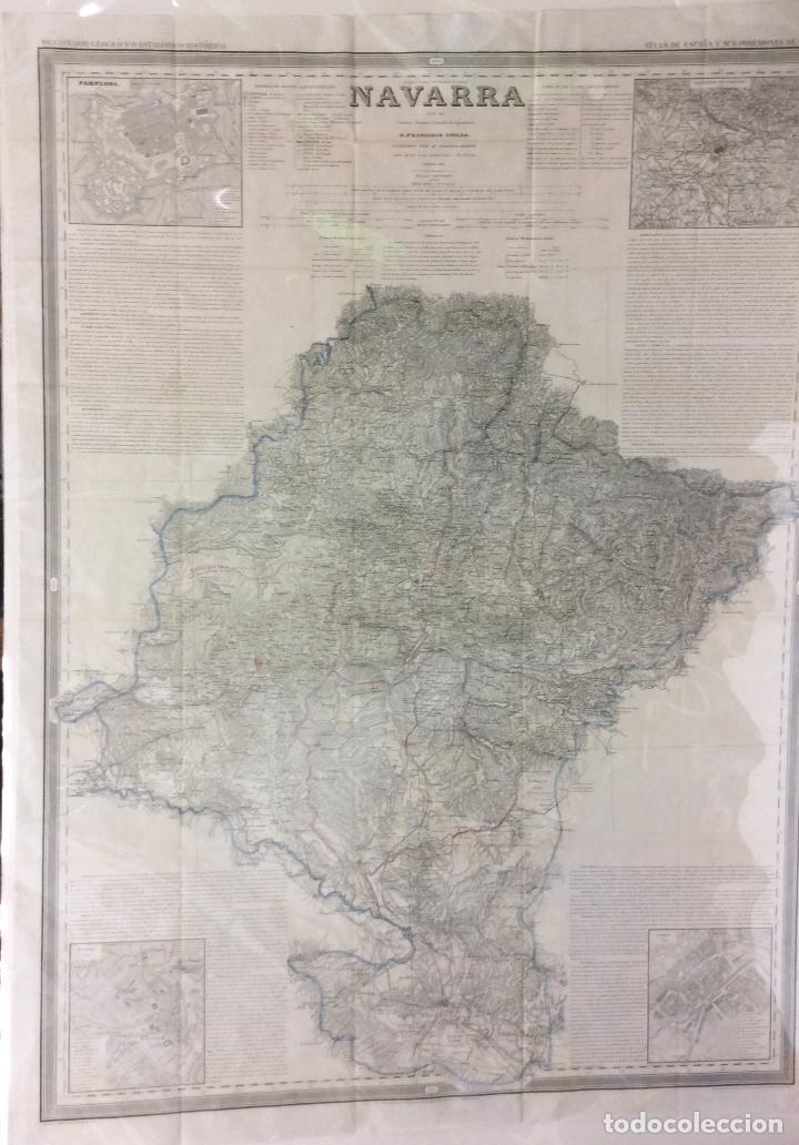 NAVARRA ANTIGUO MAPA POR D.FRANCISCO COELLO ,MEDIDA 110X80 CM (Arte - Cartografía Antigua (hasta S. XIX))