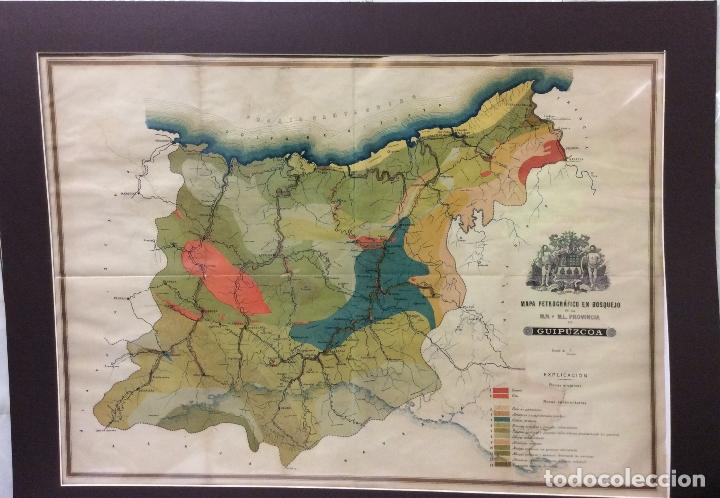 MAPA PETROGRÁFICO EN BOSQUEJO GUIPUZCOA -ARTES GRAFICAS TOLOSA-83X63CM (Arte - Cartografía Antigua (hasta S. XIX))