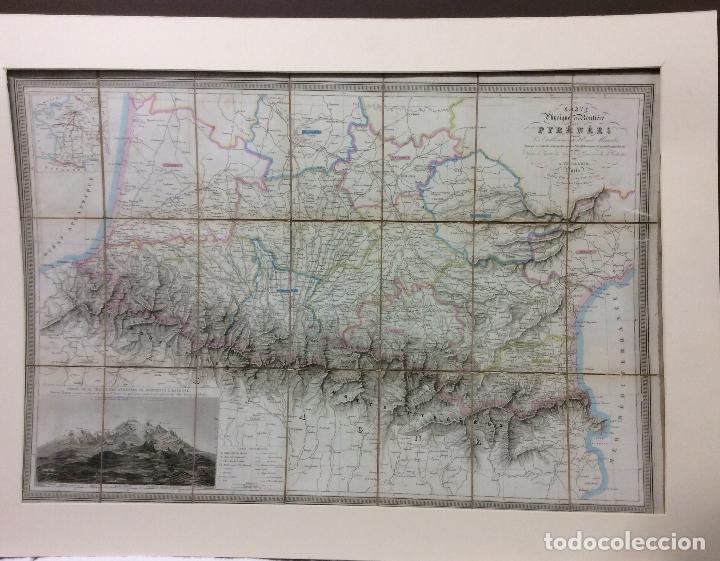 CARTE PHISIQUE ET ROUMENE PYRENÉES 1851-MEDDIA 85X60 CM (Arte - Cartografía Antigua (hasta S. XIX))