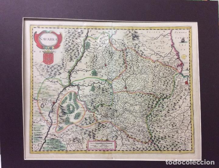 ANTIGUO GRABADO DE NAVARRA COLOREADO -IOANNI JANBUNY-AÑO 1630-MEDIDA 59X49 CM (Arte - Cartografía Antigua (hasta S. XIX))