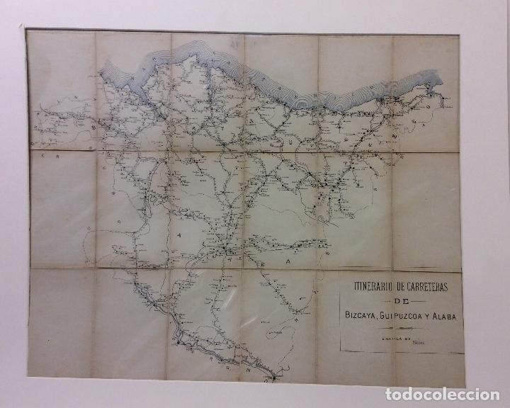 ANTIGUO MAPA DE ITINERARIO DE CARRETERAS BIZCAYA-GUIPUZCOA Y ALABA-MEDIDA 70X55 CM (Arte - Cartografía Antigua (hasta S. XIX))