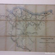Arte: ANTIGUO MAPA DE ITINERARIO DE CARRETERAS BIZCAYA-GUIPUZCOA Y ALABA-MEDIDA 70X55 CM. Lote 182384110