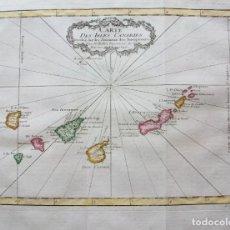 Arte: MAPA DE LAS ISLAS CANARIAS. 1754. BELLIN Y PREVOST. RARO. COLOREADO.. Lote 182695110