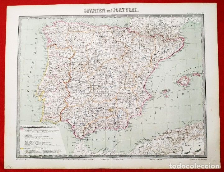 1862 - ORIGINAL - MAPA DE ESPAÑA SPANIEN UND PORTUGAL - BROMME, TRAUGOTT - POLITICO (Arte - Cartografía Antigua (hasta S. XIX))