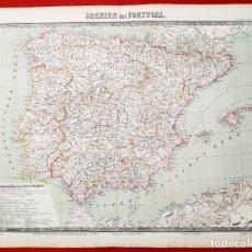 Arte: 1862 - ORIGINAL - MAPA DE ESPAÑA SPANIEN UND PORTUGAL - BROMME, TRAUGOTT - POLITICO. Lote 182999913