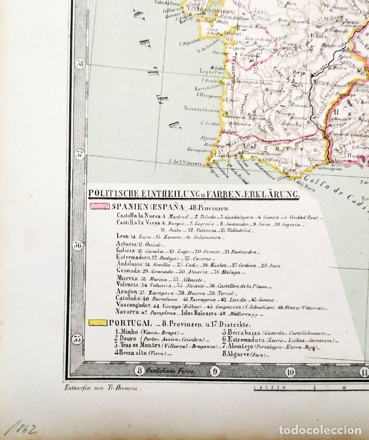 Arte: 1862 - Original - Mapa de España Spanien und Portugal - Bromme, Traugott - Politico - Foto 2 - 182999913