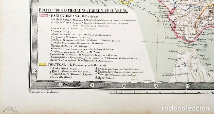 Arte: 1862 - Original - Mapa de España Spanien und Portugal - Bromme, Traugott - Politico - Foto 3 - 182999913