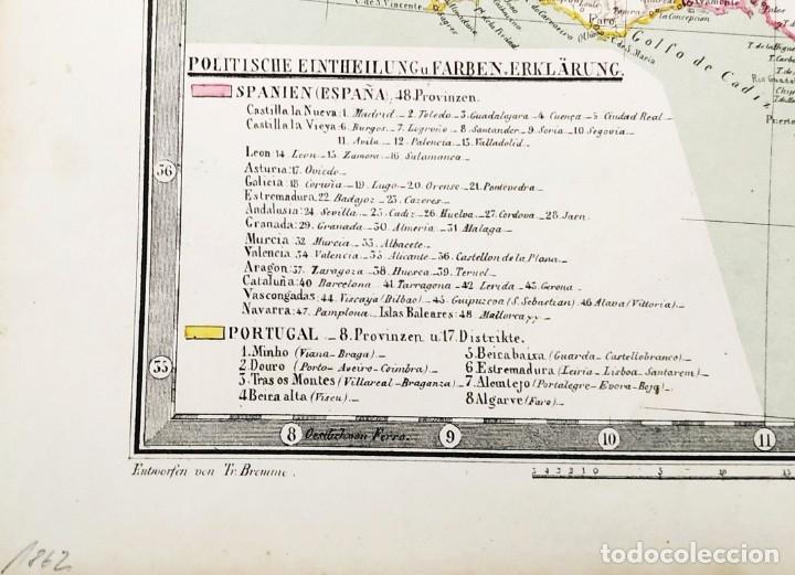 Arte: 1862 - Original - Mapa de España Spanien und Portugal - Bromme, Traugott - Politico - Foto 8 - 182999913