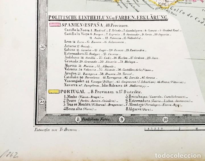 Arte: 1862 - Original - Mapa de España Spanien und Portugal - Bromme, Traugott - Politico - Foto 9 - 182999913
