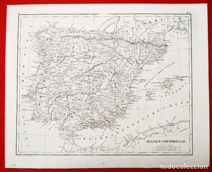 1849 - ORIGINAL - MAPA DE ESPAÑA SPANIEN UND PORTUGAL - J.L.V. BAEHR (Arte - Cartografía Antigua (hasta S. XIX))