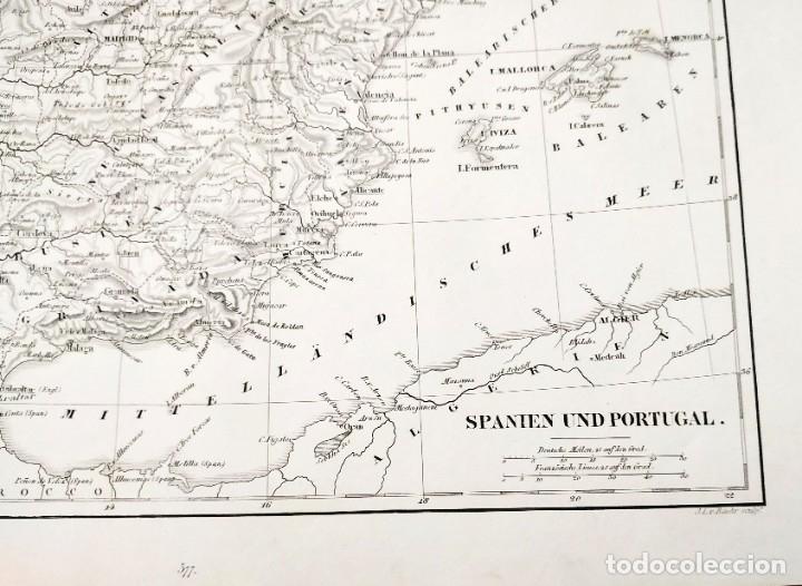 Arte: 1849 - Original - Mapa de España Spanien und Portugal - J.L.V. Baehr - Foto 2 - 183000988