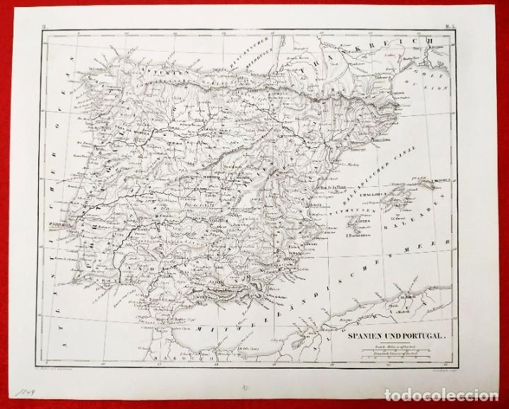 Arte: 1849 - Original - Mapa de España Spanien und Portugal - J.L.V. Baehr - Foto 6 - 183000988