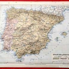Arte: 1885 - ORIGINAL - MAPA DE ESPAÑA SPANIEN UND PORTUGAL - GEOGR. ANSTALT V. L. RAVENSTEIN IN FRANKFURT. Lote 183001988