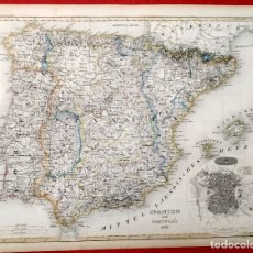 Arte: 1849 - ORIGINAL - MAPA DE ESPAÑA SPANIEN UND PORTUGAL - STAHLSTICH VON. H. BORNMÜLLER. Lote 183002467