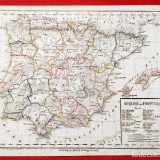 Arte: 1836 - ORIGINAL - MAPA DE ESPAÑA SPANIEN UND PORTUGAL - BERLIN - MAJOR DR. STREIT´S ANGABE VON MAJER. Lote 183003287