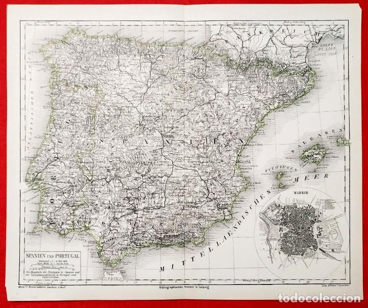 1880 - ORIGINAL - MAPA DE ESPAÑA SPANIEN UND PORTUGAL - MEYER´S - LEIPZIG - V. FERRO (Arte - Cartografía Antigua (hasta S. XIX))