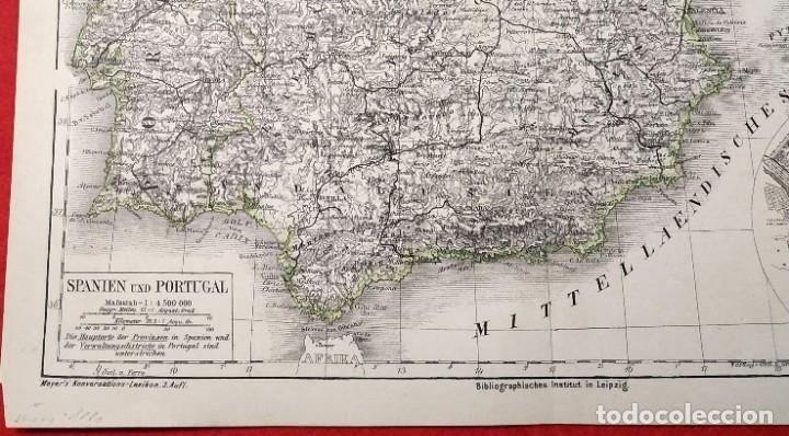 Arte: 1880 - Original - Mapa de España Spanien und Portugal - Meyer´s - Leipzig - V. Ferro - Foto 2 - 183004998