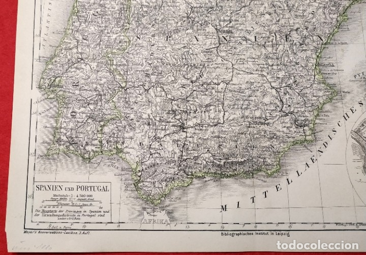 Arte: 1880 - Original - Mapa de España Spanien und Portugal - Meyer´s - Leipzig - V. Ferro - Foto 3 - 183004998