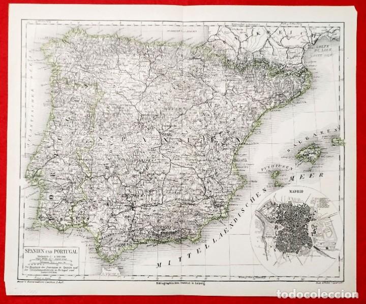 Arte: 1880 - Original - Mapa de España Spanien und Portugal - Meyer´s - Leipzig - V. Ferro - Foto 4 - 183004998